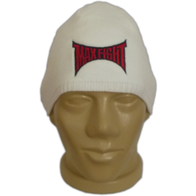 MAXFIGHT Knitted White Hat with  a streak