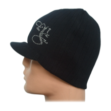 MAX FIGHT -  women' s knitted black hat with  visor and stones